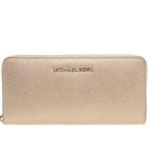 Michael Kors Gold Jet Set Gold Leather Wallet